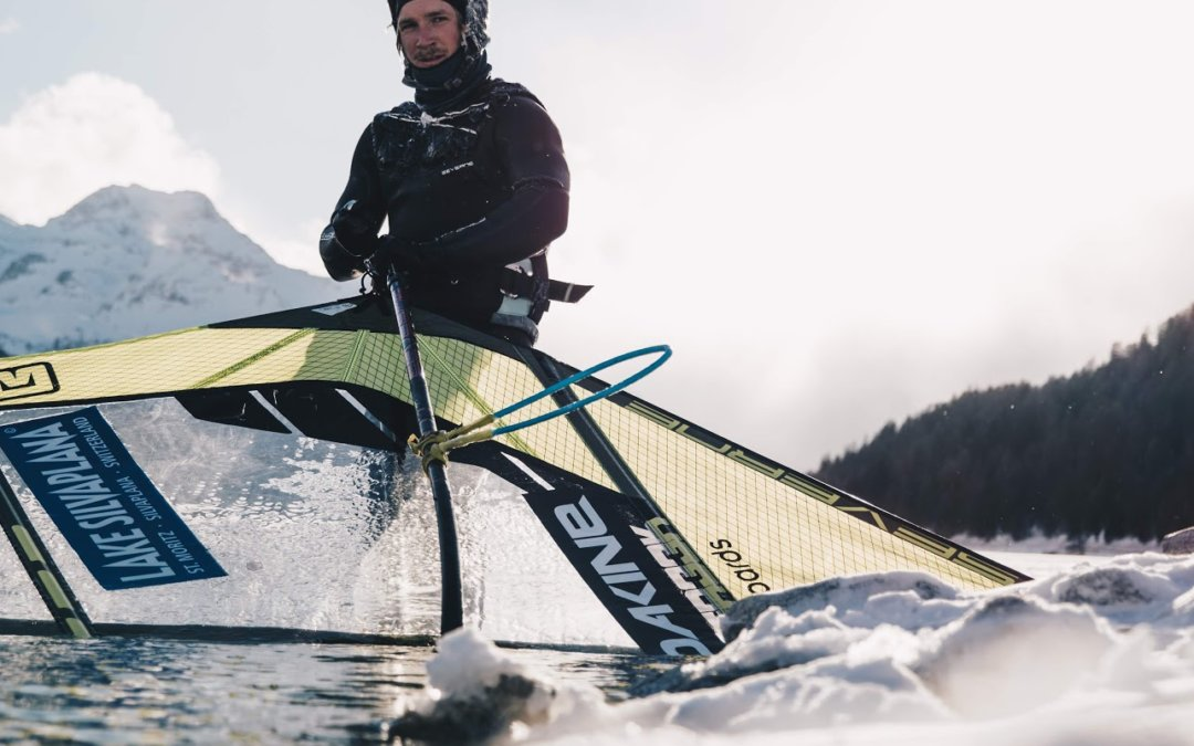 Balz Müller tests his limits with an ice pond foiling session in Switzerland